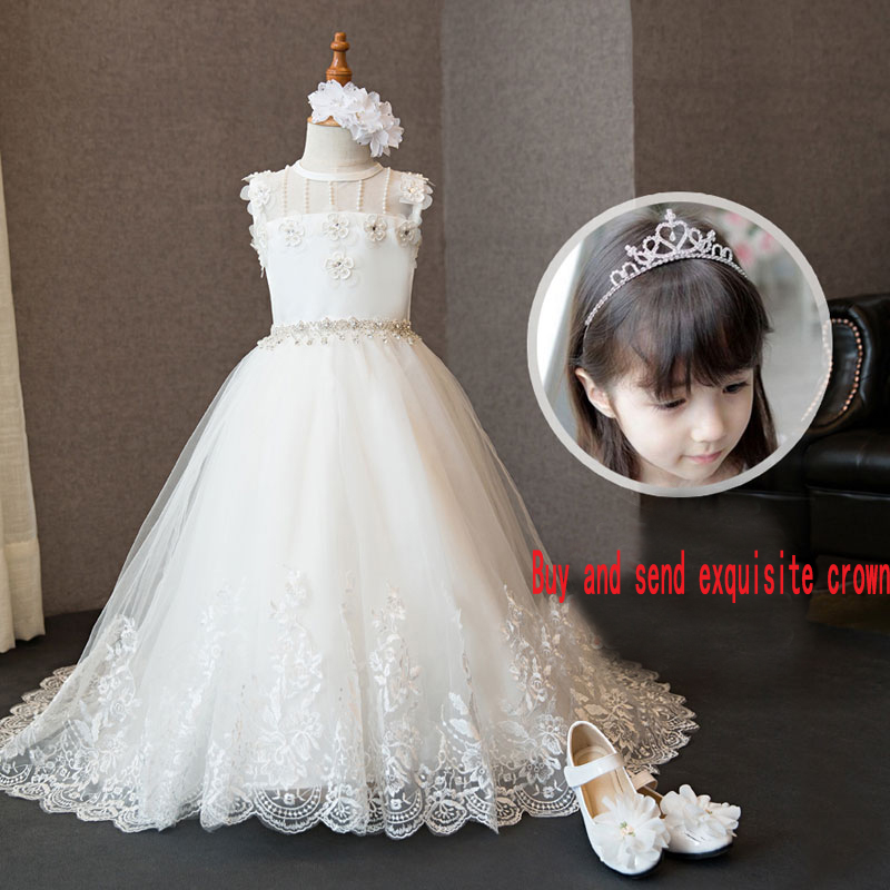 High quality children's dresses puff princess dress flower girl dress girls wedding birthday piano costumes girls dress girl top quality dresses 100