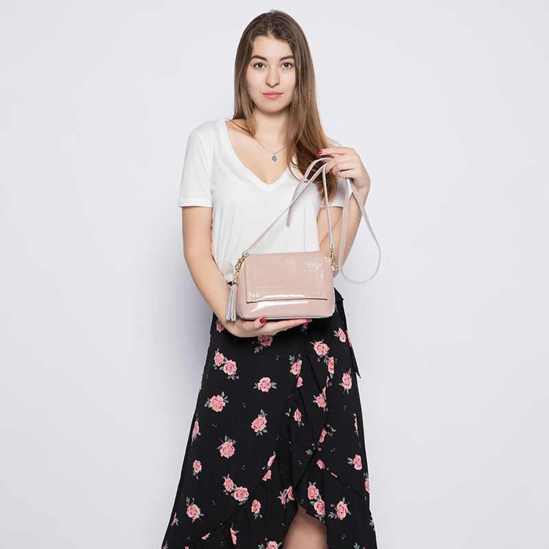 MAIS REAL crossbody sacos para as mulheres macio Dividir couro de patente das senhoras ombro mensageiro saco de moda feminina saco de noite com borla