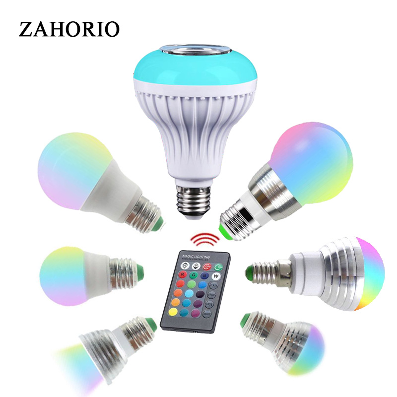 Bluetooth Bulb Ampoule Led Lamp E27 E14 GU10 RGB Night Light Bulb With Remote Control For Home Spotlight Music Lamp 110V 220V 85