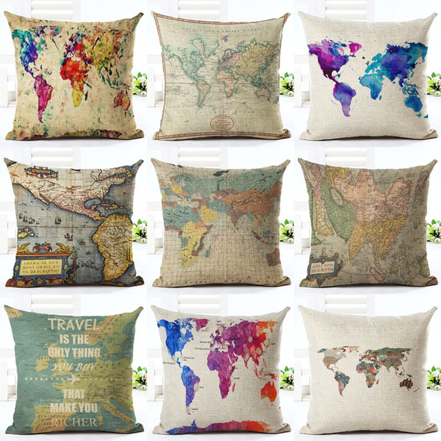Shabby Chic World Map Printing Cushion Covers Colorful Graffiti