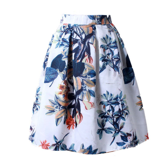Summer Women Vintage Retro Satin Floral Pleated Skirts Midi Skirt