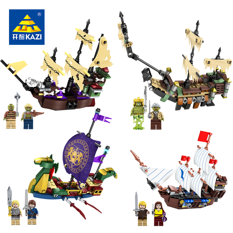 KAZI 4 Sets Pirates Ghost Ship Building Blocks Action Toy Figure Compatible Legoe Pirates Boat Educational Toy For Children Gift 84005 228pcs military ship kazi warship building bricks blocks sets christmas gift toy compatible with city destroyer