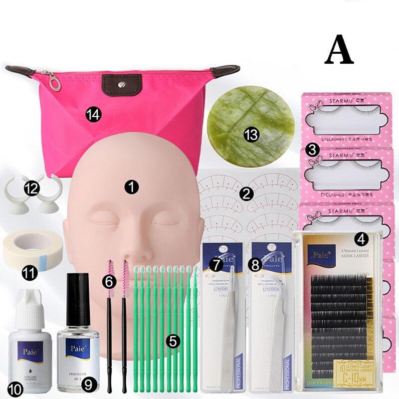 14Set Training Eyelashes Kit False Eyelash Extension Grafting Practice Curl Glue Tweezer Tools Set Bag Eye Lash Graft Bag Mink