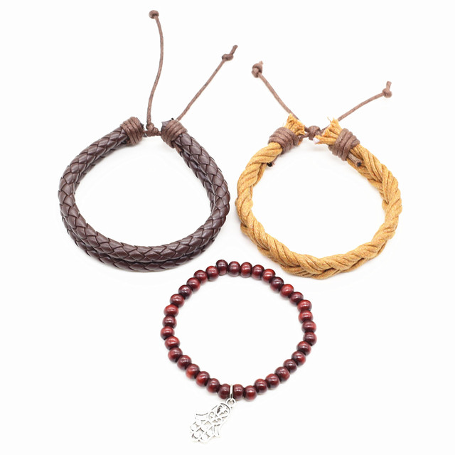 Three Pieces Unisex Bracelet with Wooden Beads, Leather and Hemp Rope Combination