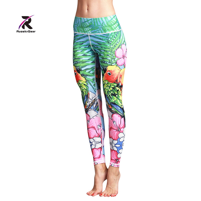 Yoga Pants Women Fitness Sports Tights for Lady Print Elastic Gym Running Leggings Compression Push Up Sexy Slim Trousers