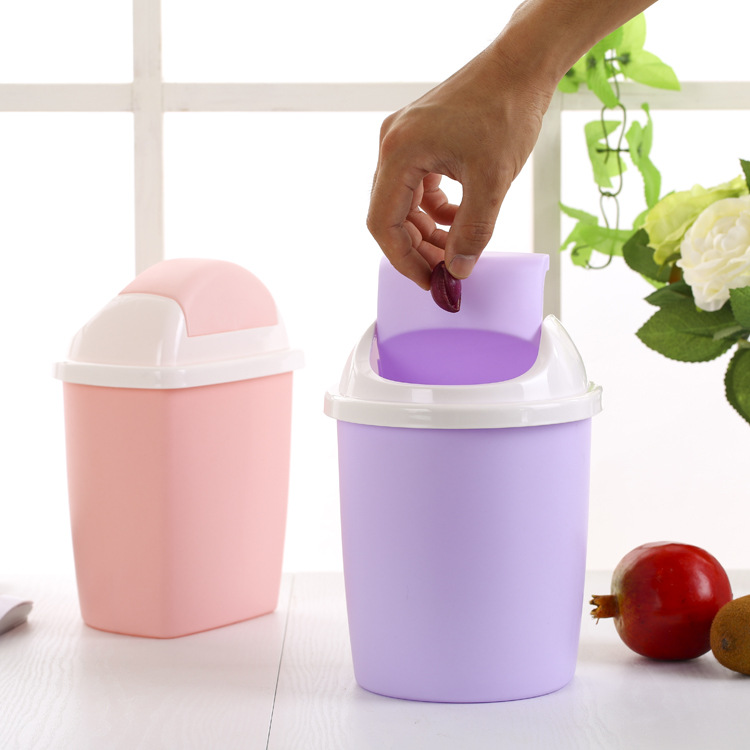 1pc Office Kitchen Flip Plastic Trash Can Rubbish Bin Garbage Waste Paper Basket S Recycle Container J0731 In Bins From Home