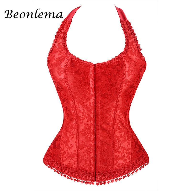 Corset   Sexy Corselet Bodice Burlesque Fajas Red   Corset   Lacing Karset Female   Bustier   Overbust Strap Brocade   Corsets   Plus Size 6XL