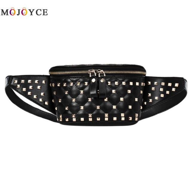Street Rivet Waist Packs Women Girls Fanny Pack PU Leather Shoulder Crossbody Chest Belt Bags Heuptas Pochete