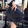 Moda Punk espárragos bolso de embragues del día billetera de cuero de las mujeres bolsos de tarde de las señoras bolsos Envío Gratis dropship