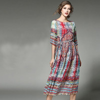 Lucky Horse 2017 Spring Summer Women Beach Dress O Neck Half Sleeve Bohemian Style Print Slim