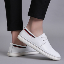 Rommedal lace-up men loafers black white color genuine leather moccasins male flats skate shoes man leisure fashion casual shoes