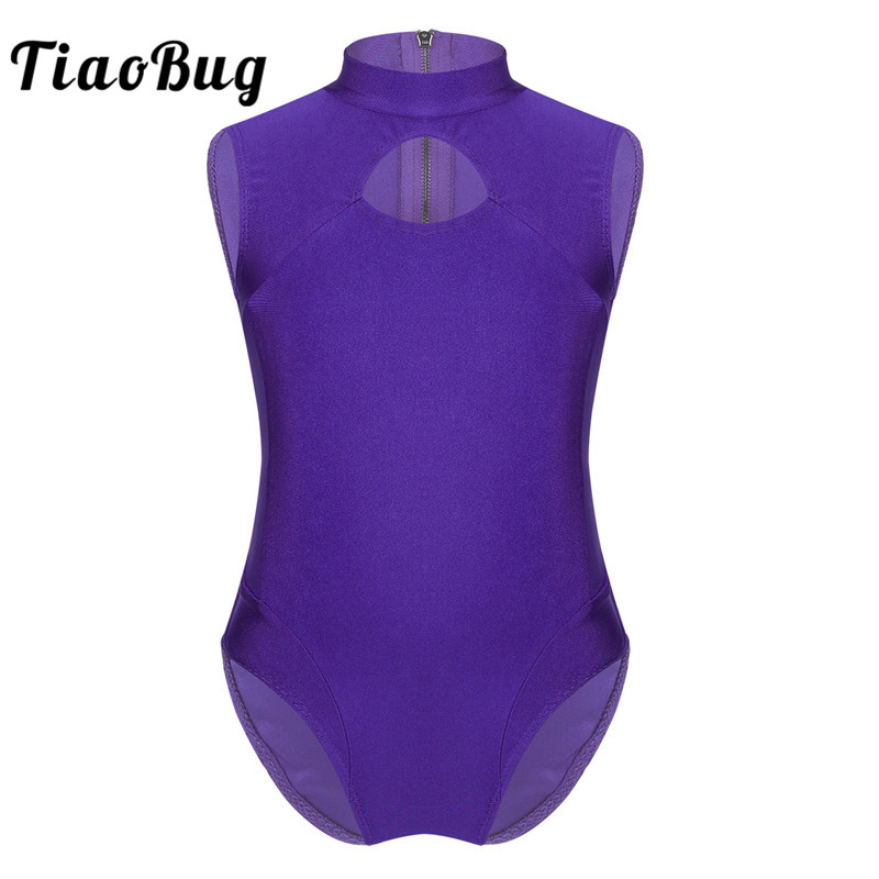 TiaoBug Children Teens Sleeveless Zipper Back Professional Ballet Leotard Girls Gymnastics Leotard Gym Bodysuit Kids Dance Wear