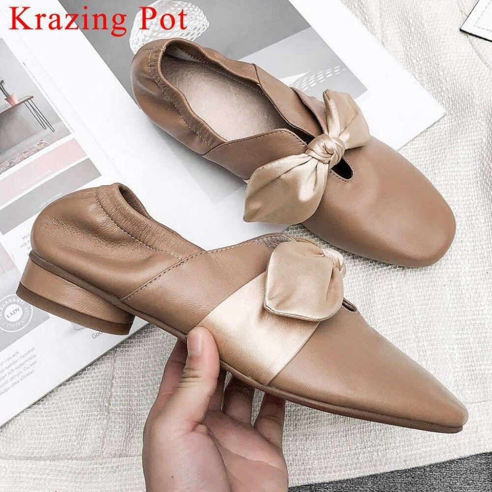 Krazing olla mujer nueva moda cosidos a mano zapatos de ballet de cuero Arco Nudo de tacón bajo cuadrado del dedo del pie resbalón en zapatos de manga de hadas L05-in Zapatos de tacón de mujer from zapatos    1