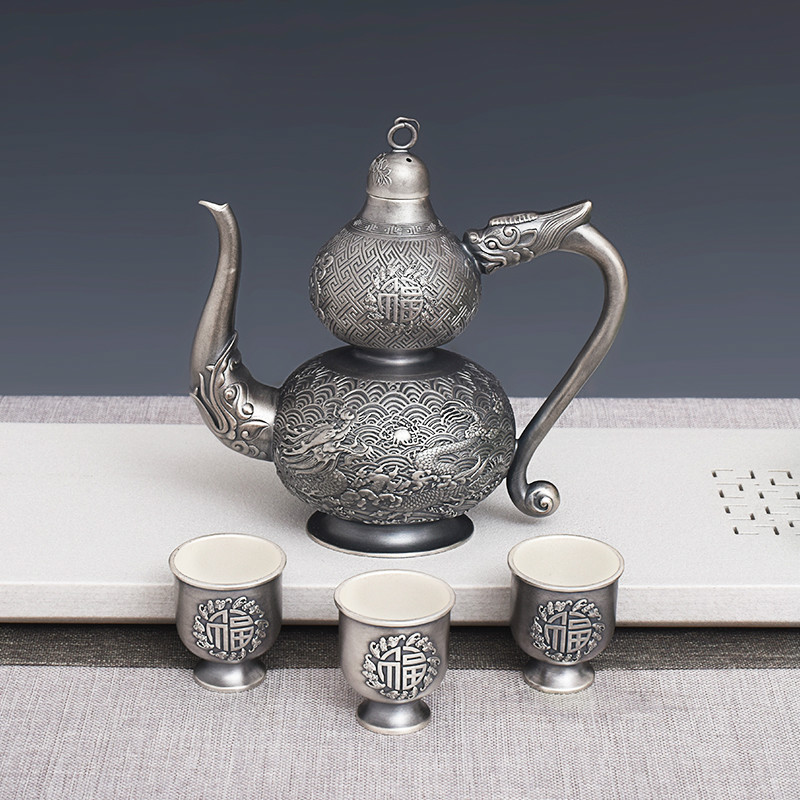 Pure Silver Handmade Silver 999 Fulu Bottle Set Household Gift Fine Silver Carved Silver Wine Tableware
