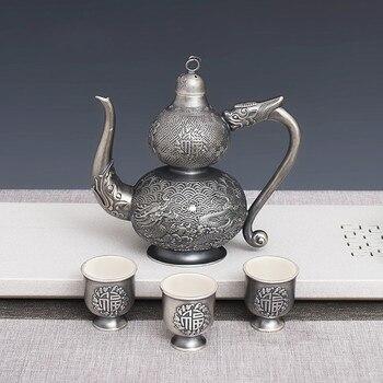 Reinem Silber Handgemachte Silber 999 Fulu Flasche Set Haushalt Geschenk Feine Silber Geschnitzt Silber Wein Geschirr