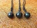 Pedra Natural Pingente de Colar Preto Íris do Olho de Obsidiana Contas de Transferência de Bola Amor Sorte Jóia de Cristal Com Corda Livre