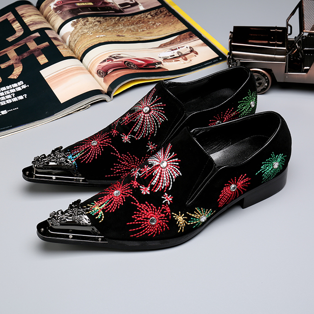 2017 Black Mens Embroidered Velvet Loafers Metallic Men Club Party Dress Shoes Male Leather Flats