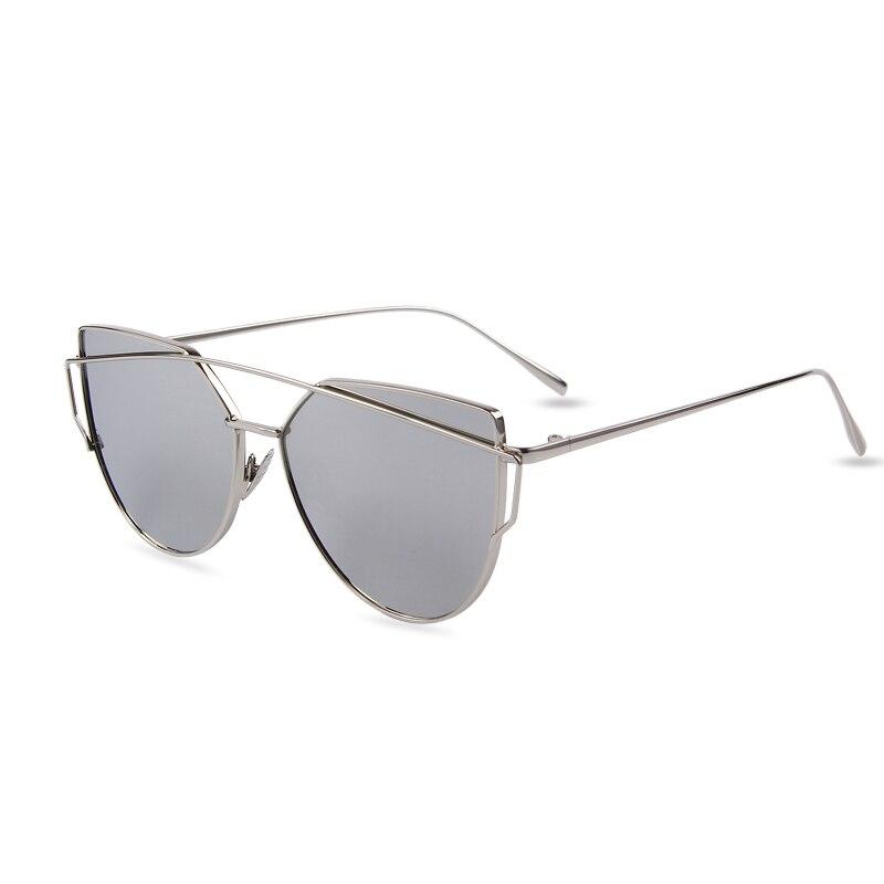 87101df33b0 ... Rose Gold Twin-Beams Frame Cat Eye Flat Lens Sunglasses ...