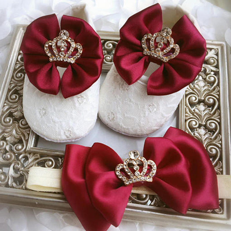 48d43adc82a5 Custom Sparkle bow princess rhinestone baby Shoes baby toddler bling First  Walkers baby girl shoes Noble wine red hairband-in First Walkers from  Mother ...