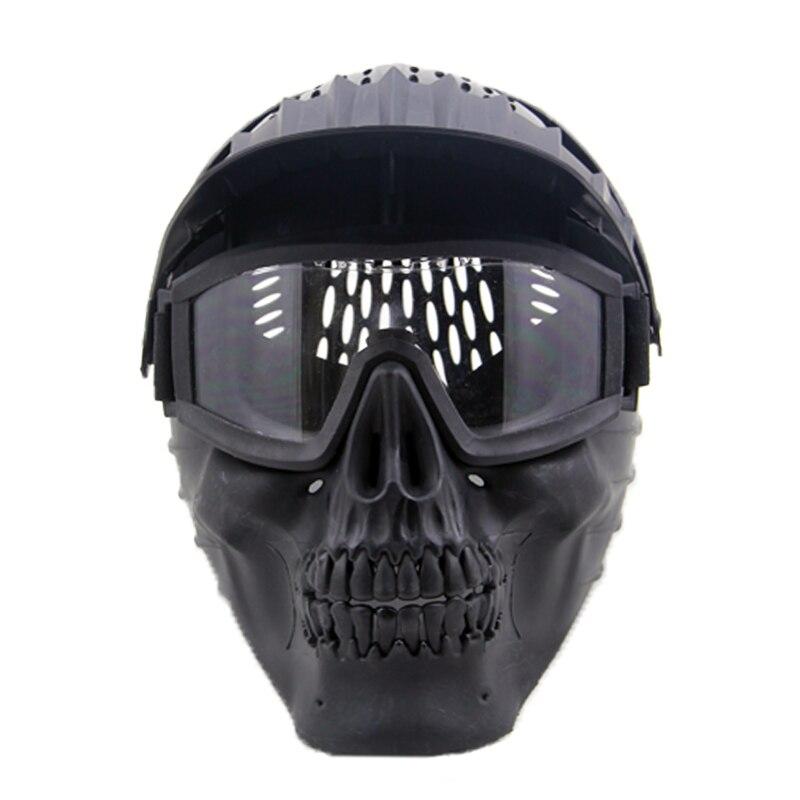 ZJZ05 Combinaison Masque Tactique Airsoft Paintball Masque Facial Avec Lunettes Lentille Halloween Partie