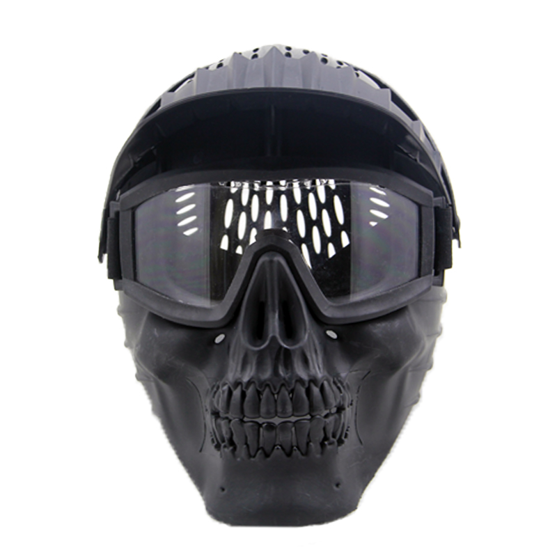 ZJZ05 Combination Mask Tactical Airsoft Paintball Full Face Mask With Goggle Lens Halloween Party