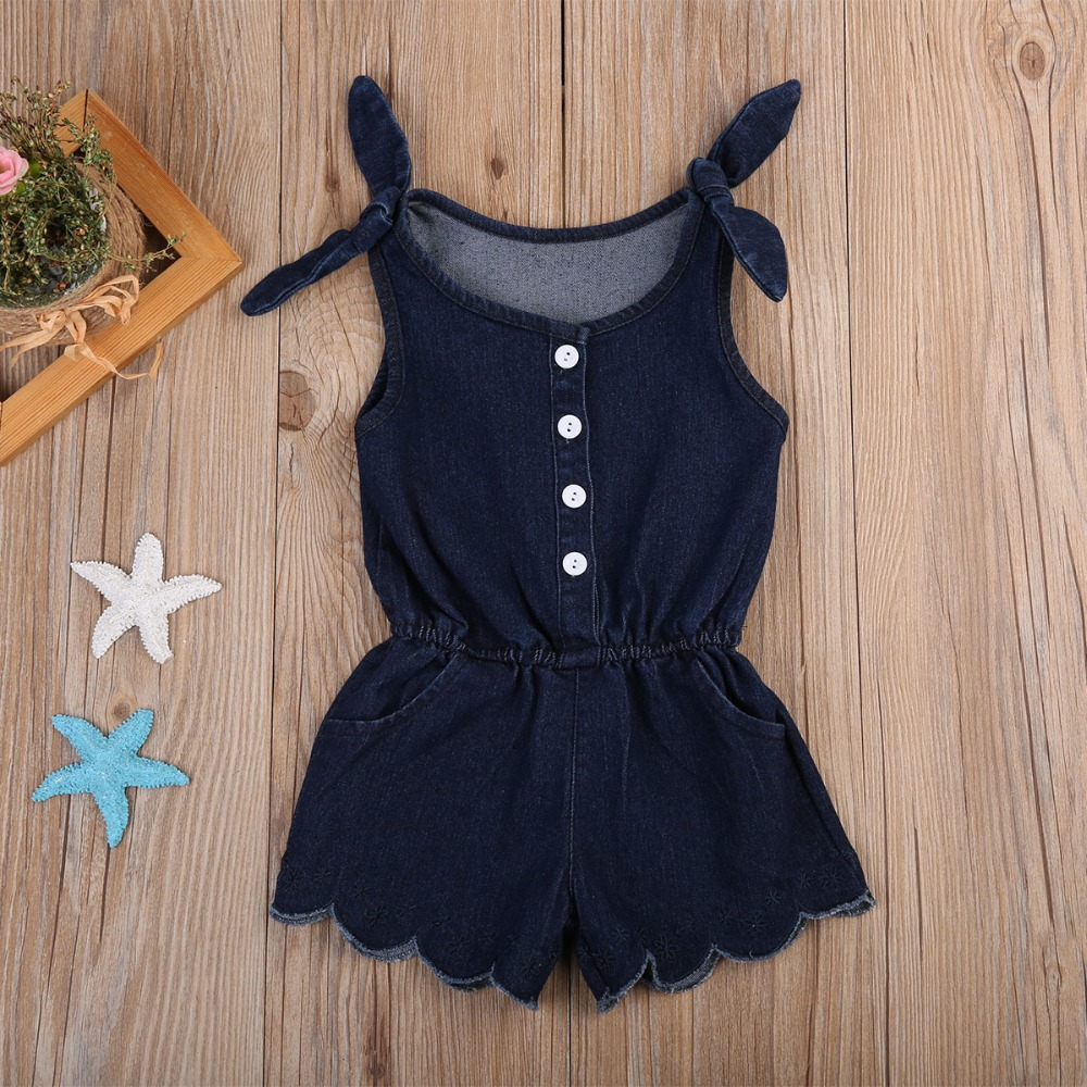 Summer Childrens Jeans Overalls Fashion Strap Toddler Girls Denim Jumpsuits Navy Blue Sl ...