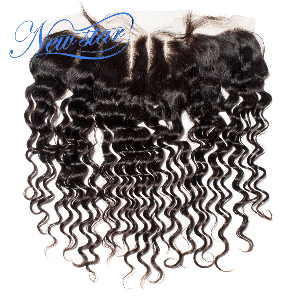 Closures Virgin-Hair Lace-Frontal 3-Part Hairline Deep-Wave Pre-Plucked Natural-Color