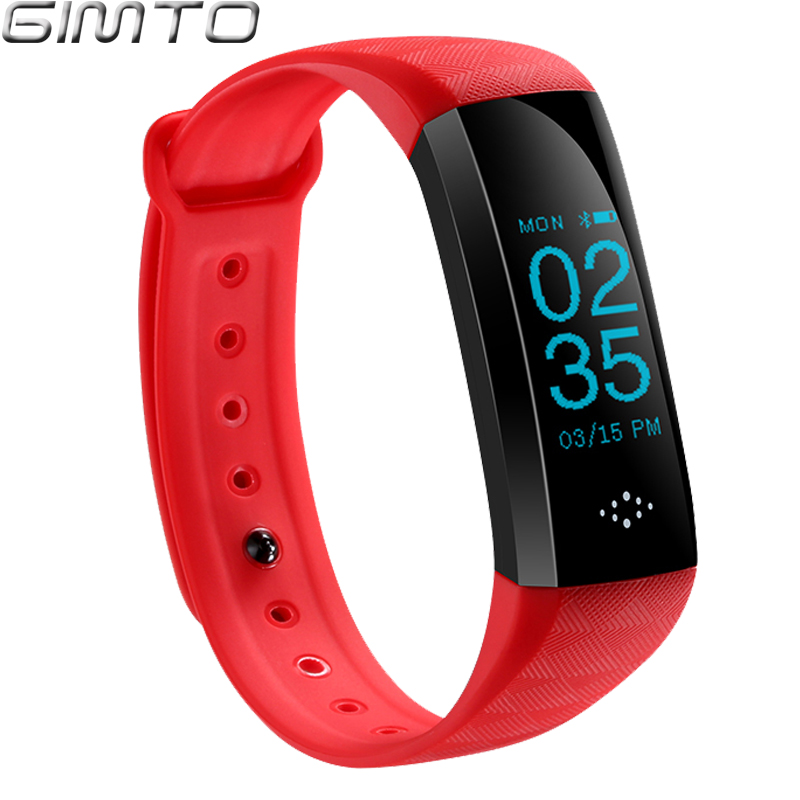 GIMTO Smart Bracelet Watches IOS & Android Smart Device Red Rubber LED Digital Waterproof Heart rate Bluetooth Outdoor Clock gimto men women smart bracelet watches android ios phone smart device sms reminder waterproof bluetooth outdoor clock gift gm805