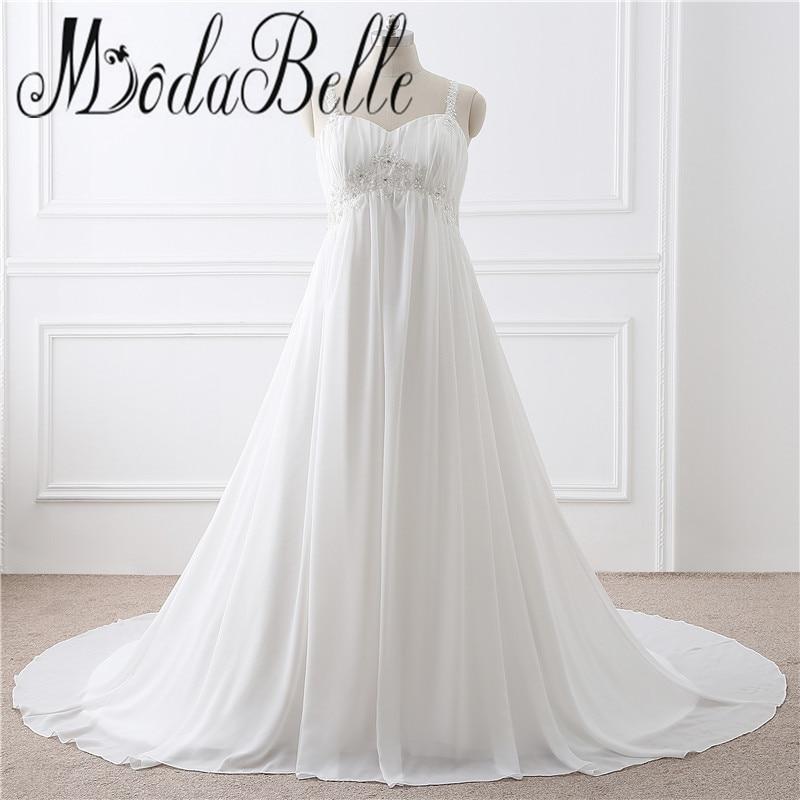 Simple Plus Size Wedding Dresses: 2017 Chiffon Simple Beach Pregnant Wedding Dress Plus Size