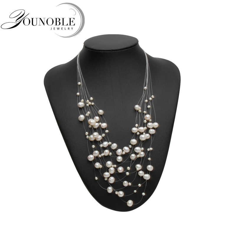 Genuine Freshwater Multilayer pearl necklace woman,Fashion natural choker necklace girls jewelry white bridal wedding gift E02