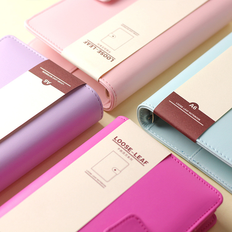 Macaron leather spiral notebook person binder weekly planner cute personal agenda organizer stationery libretasy cuadernos A5A6