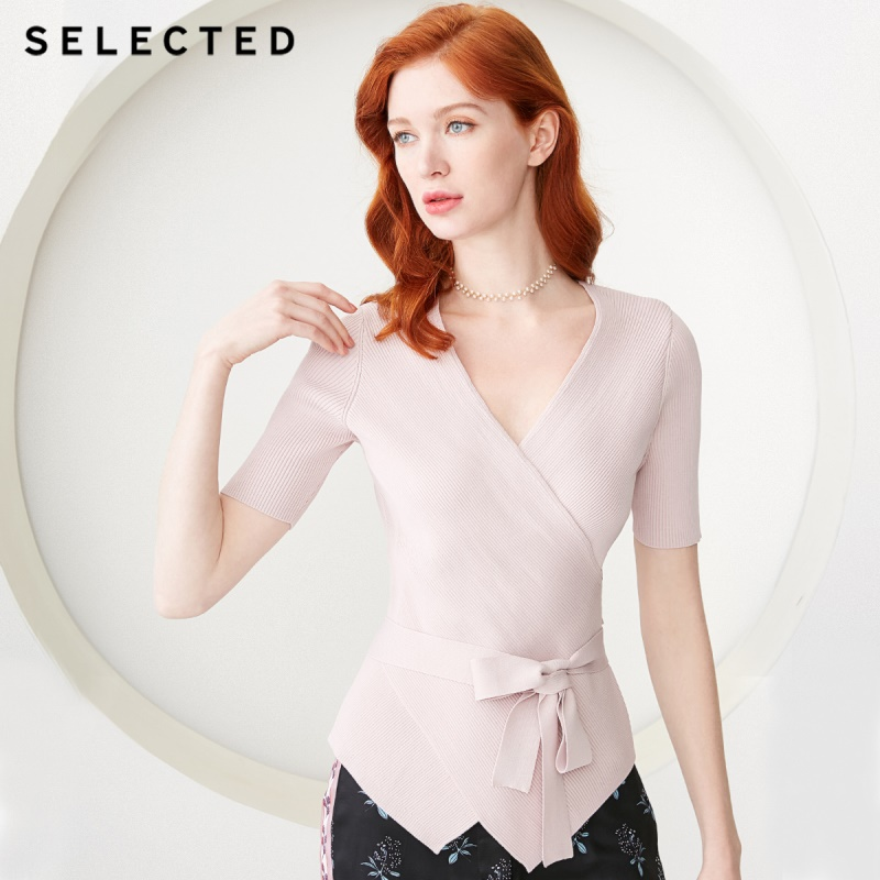 SELECTED Women's Spring Cross-over Collar Lace-up Short-sleeved Knitted Tops S 419124517