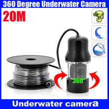 360 degree CCD600 TVL IR LED Underwater Video Fishing Camera 20M Cable PTZ fishing camera fishing finder with power supply