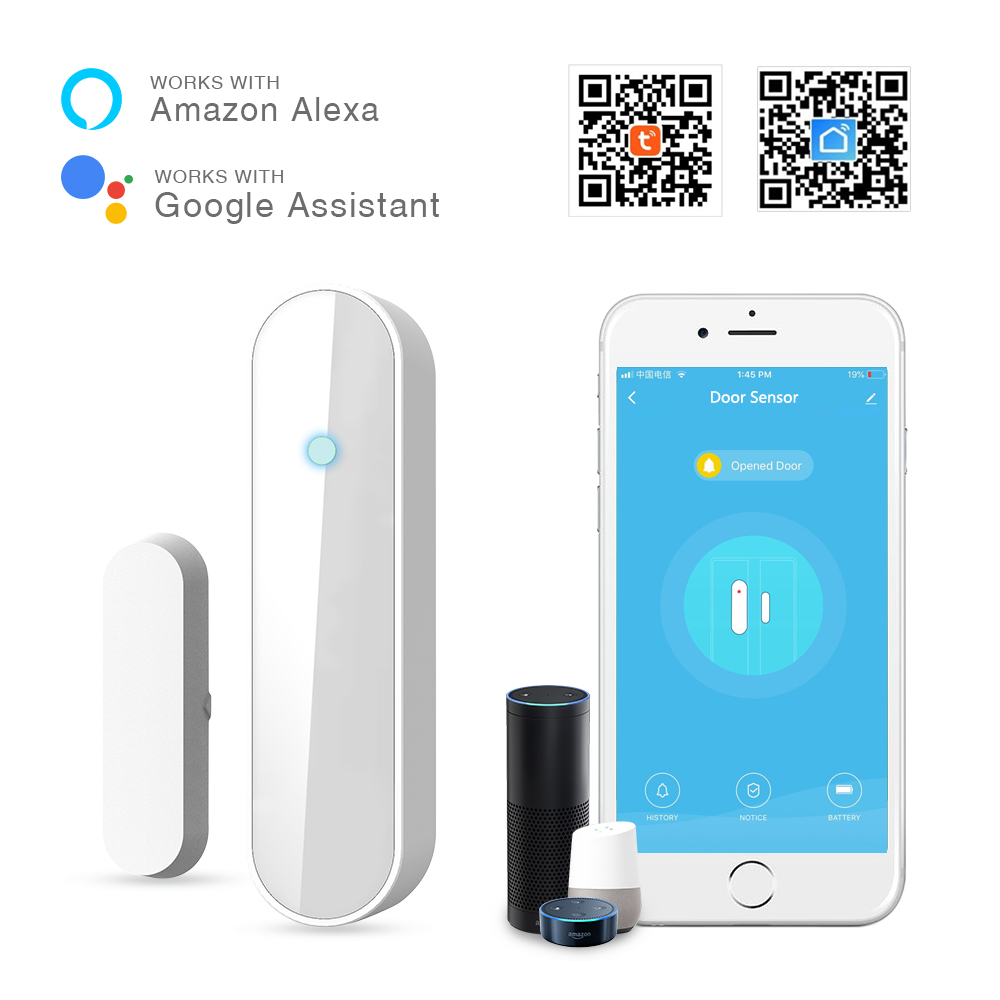Lepeuxi Sensor de Ventana de Puerta WiFi Detector de intrusi/ón de Puerta Inteligente WiFi Detector de Alarma de Seguridad para el hogar Control de la aplicaci/ón del tel/éfono m/óvil