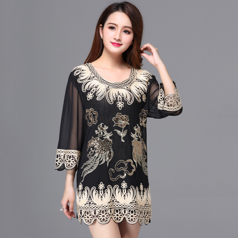 Large Size Luxury Women Dinner Party Blouse Top Loose O-Neck 3/4 Sleeve Floral Embroidered Applique Sequin Blouse Long Tunic Принцесса Жасмин