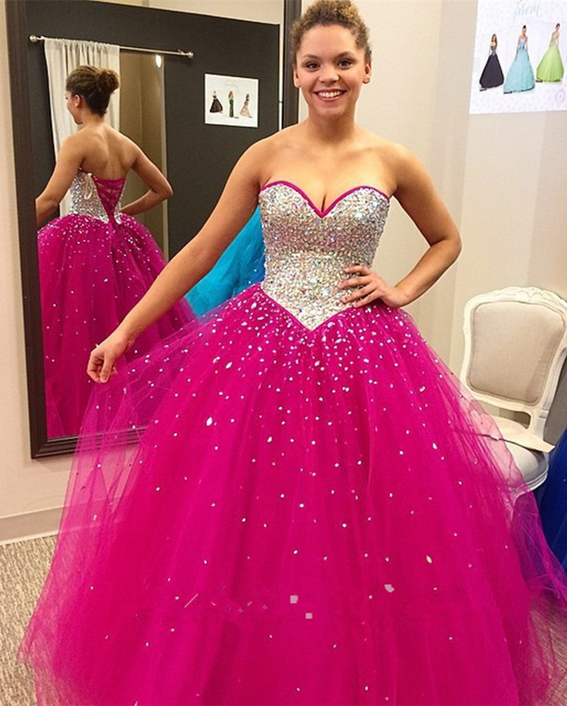 Rose Red Sleeveless Prom Dresses Sweetheart Neckline Ball Gown ...