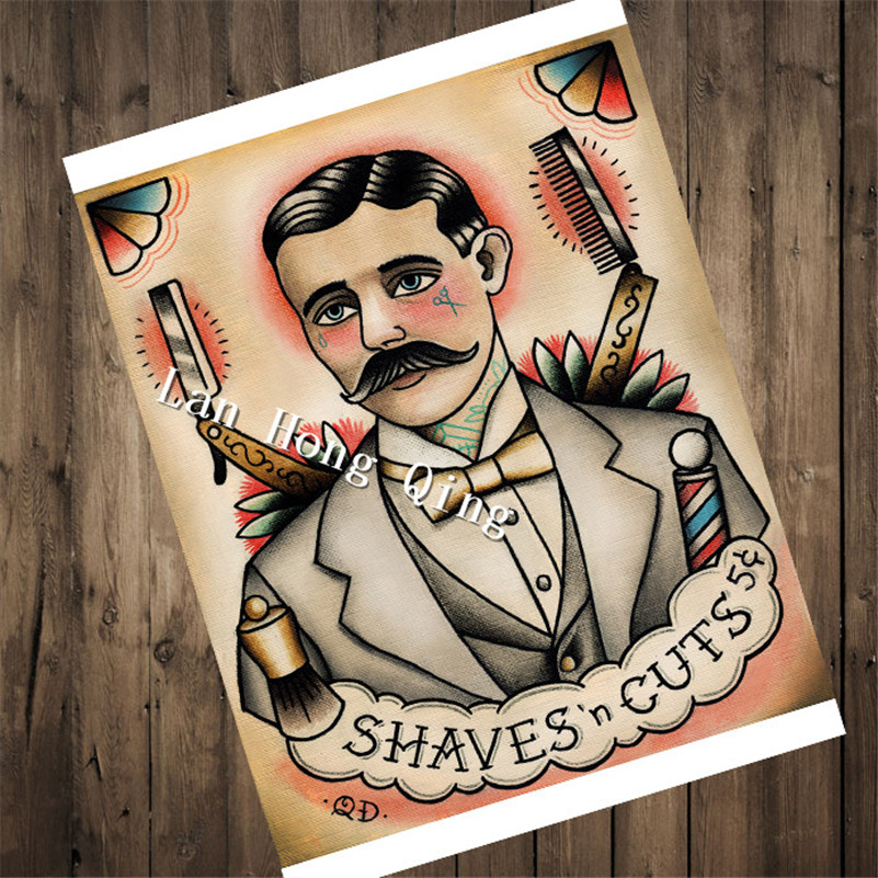 Direct selling Tattoos Patterned Kraft Paper about SHAVES CUTS Wall art living room wall sticker home decor painting HM-155