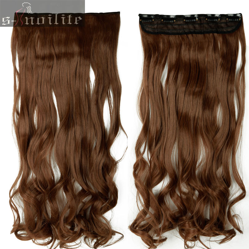 S-noilite, 18-28 дюймов, длинные волосы на заколках для наращивания, 1 шт., синтетические, настоящие натуральные волосы, 3/4, на всю голову, черный, коричневый - Цвет: #6