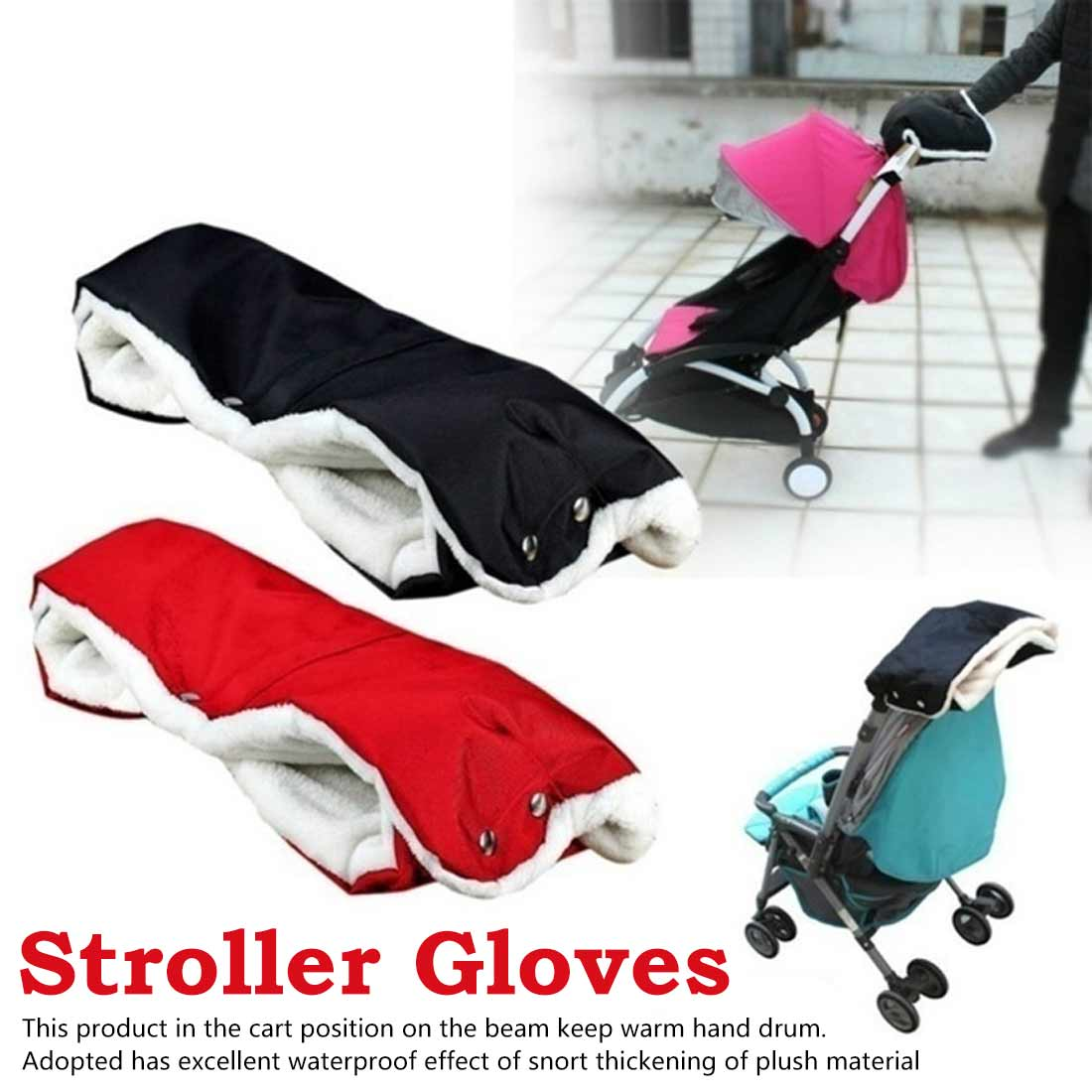Warmer Winter Pram Clutch Cart Thick Fleece Gloves Kids Baby Pram Stroller Accessory Hand Muff Waterproof Gloves