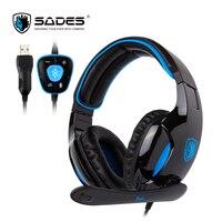 SADES SNUK Virtual 7 1 Surround Sound Headphones Original USB Plug Gaming Headset For Gamer