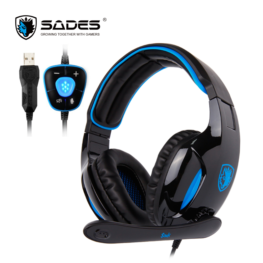SADES SNUK Professional Headphone Virtual 7.1 Surround Sound Headphones with 40mm speaker Gaming Headset for Gamer sades wolfang virtual 7 1 surround sound headphones rotatable microphone headband headphone headset for video game