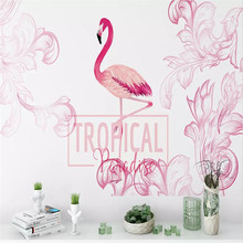Custom mural 3D stereo Nordic hand-painted flamingo pink flowers background wall covering wallpaper