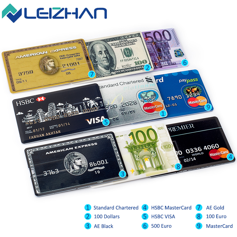 LEIZHAN 100pcs 16GB USB Flash Drive Credit Card Pen Drive