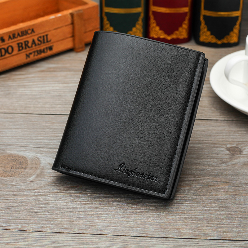 Mens Business PU Leather Wallet Credit Card Holder Purse Pockets Zipper Compartments Short Purse Men Wallets 2019 New Fashion