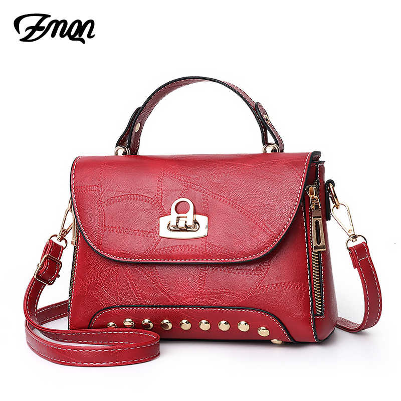 Женский Сумка через плечо с заклепками маленькие кожаные сумки для Для женщин сумки из натуральной кожи Fmaous брендовая 2019 замок на ремне дамские сумки через плечо C207