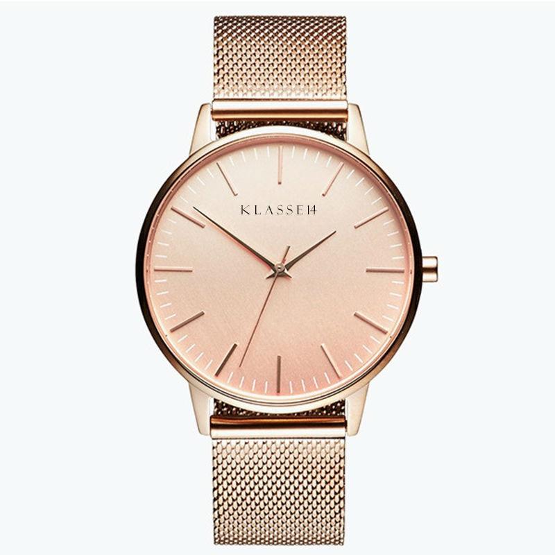 Klasse14 женская мода мужские часы Мужчины ремешок кварцевые часы Женщины розовое золото сетка из не ✔