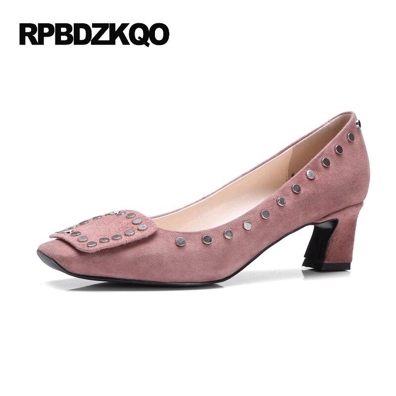 металл ненормальный новинка розовый насосы замша средний Квадратный носок Настоящая кожа заклепка толстый леди шпилька зеленый высокие каблуки Китай мода китайская Весна осень новая