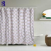 SunnyRain 1 Piece Gold Grid Modern Design White Shower Curtain Large Size Shower Curtains Water Resistant Bath Curtain 180x180cm