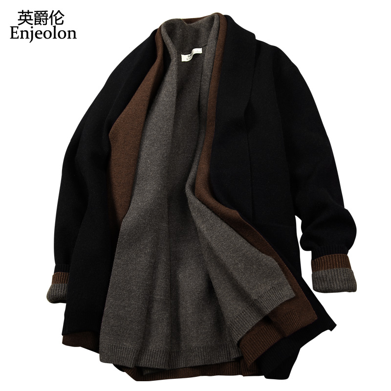 Image 3 - Enjeolon Brand Winter Long Sleeve Knitted Cardigan Warm Sweater  Man Clothes Solid Clothing Sweater Plus Size MY3218warm sweaters men -
