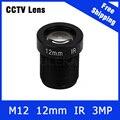 3 Megapixel Fixa M12 CCTV Lente Da Câmera 12mm Para 720 P/960 P/1080 P/3MP câmera IP e AHD/CVI/TVI Camera Frete Grátis